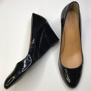 J. CREW Black Patent Leather Wedge Heel Shoes Sz 6